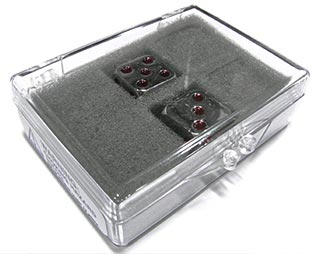 dice in a hinged plastic box