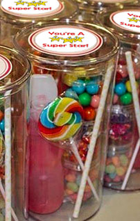 candy in a round plastic box