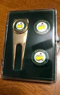 golf ball markers in hinged plastic box