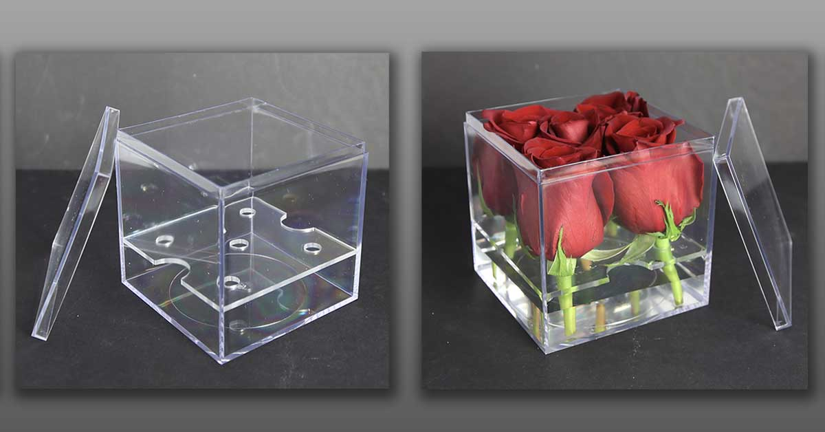 Clear Plastic Boxes With Inserts Hold Flowers, Gifts, Party Favors