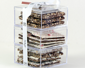 plastic boxes stacked with chocolate bark