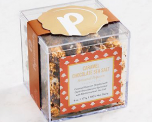 gourmet popcorn in rigid plastic boxes
