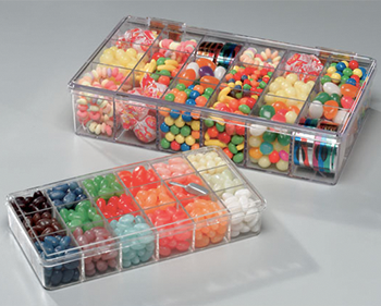 jellybeans in plastic boxes