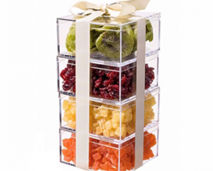 dried fruit in stacked plastic boxes