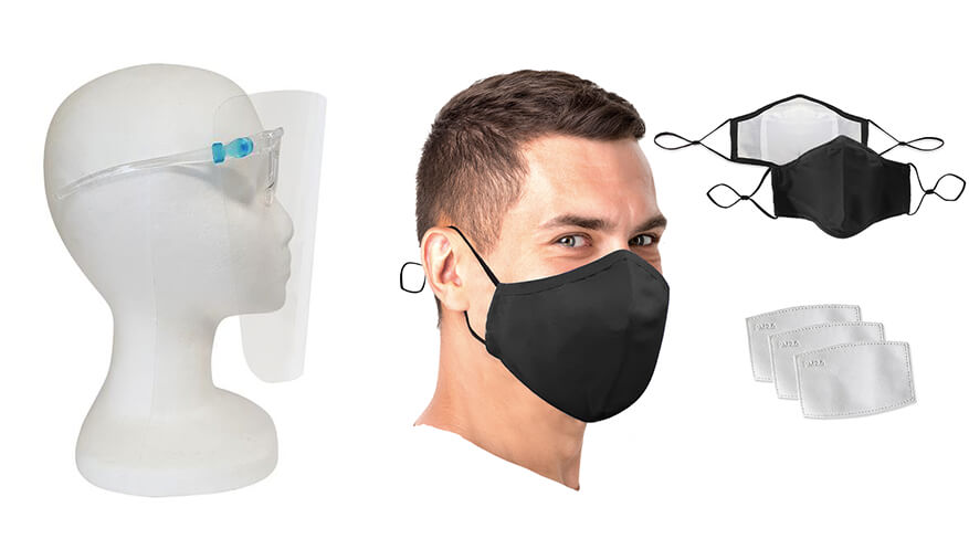face shields and masks